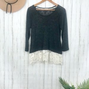 Altar'd State   Black Sweater with Lace Hem Size M